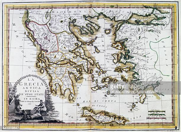 Ancient Greece divided in its states Rome Italy 18th century