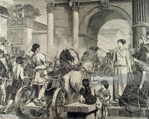Ancient Greece Olympic Games Entrance of the winner in chariot racing Engraving