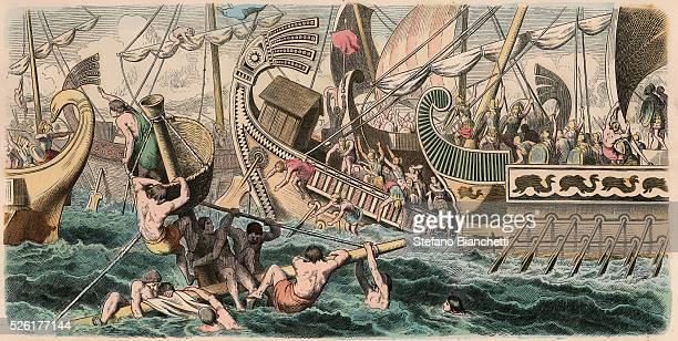 Sea Battle Coloured engraving by Heinrich Leutemann Bilder aus dem Altertume 1866