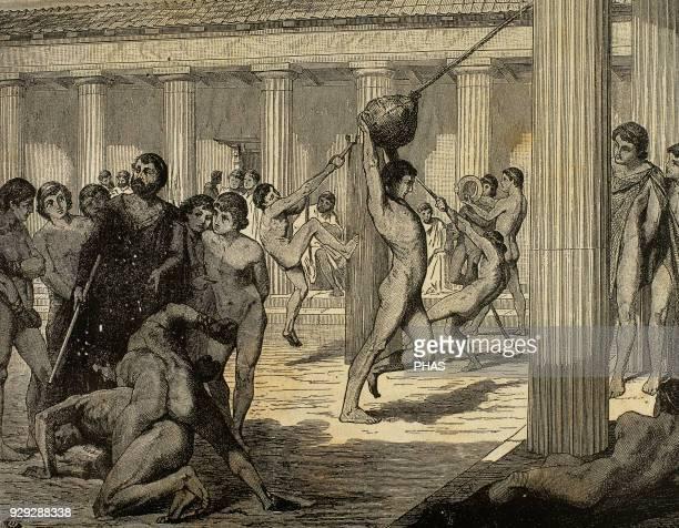 Ancient Greece Sparta Young Spartan sportsmen making gymnastics Engraving El Mundo Iustrado 1885