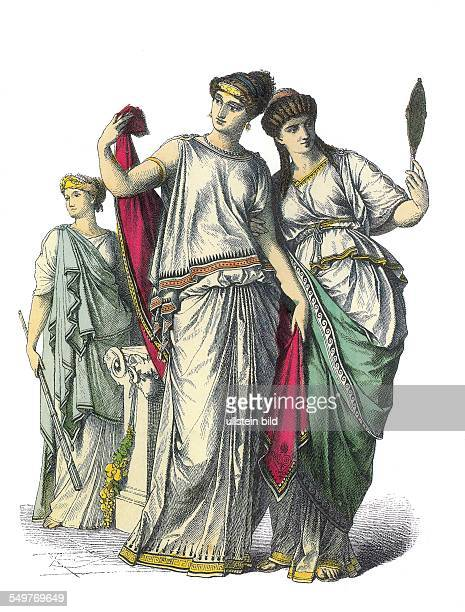 women wearinf the chiton about 400 bc illust from a historc costume catalogue about 1890