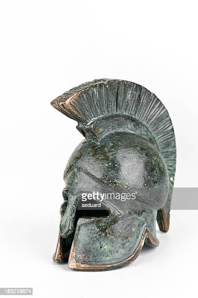 ancient greek helmet - sparta stock photos and pictures
