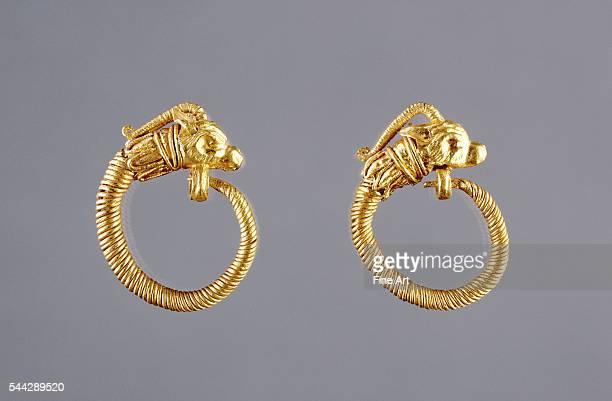 Ancient Greek Hoop Earrings with Antelope Head Finials gold made in Alexandria Egypt c 220100 BC 22 cm diameter J Paul Getty Museum Malibu California