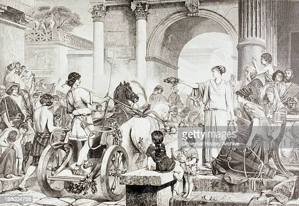 Ancient Greek Olympic Games The Winner Of The Chariot Race Is Saluted And Offered The Champion's Crown After A Work By De Courten From El Mundo...