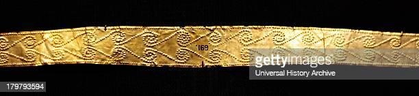 Ancient Greek 'Palace Age' Minoan Gold Diadems Circa 18501550 BC From the Aegina treasures held at the British Museum London Originally from Aegina...