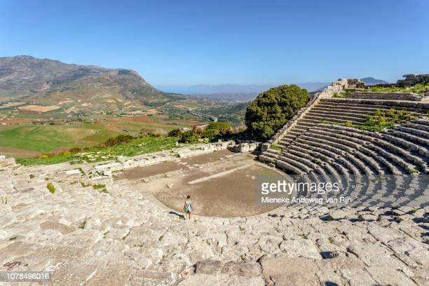 Ancient Greek theatre of Segesta, on top of Monte Barbaro, Sicily, Italy.