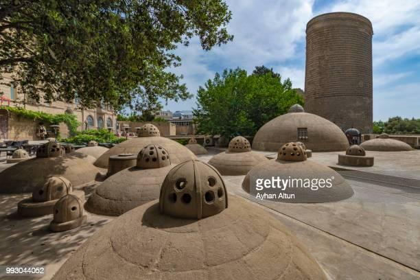 ancient hammam rooftops  in the icheri sheher, ichari shahar ,inside the old city of baku,azerbaijan - baku stock pictures, royalty-free photos & images