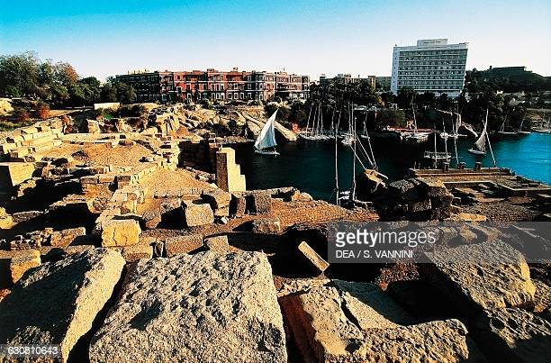 Ancient harbour of the island of Elephantine along the Nile Aswan Egyptian civilisation