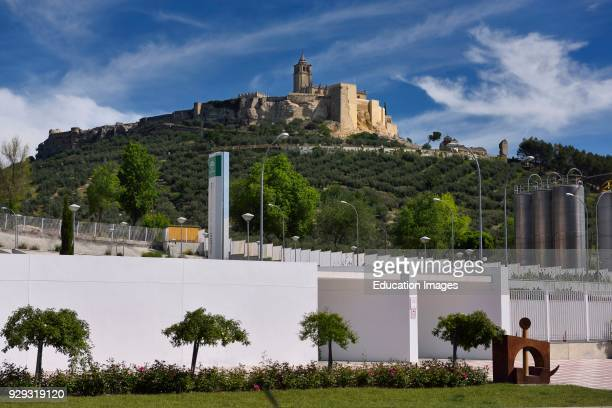Ancient hilltop Fortress of Mota with Abbey Church and modern hospital in Alcala la Real Spain