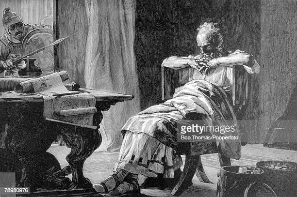 212 BC This illustration is entitled The Death of Archimedes Archimedes was a Greek mathematician philosopher physicist and engineer killed by a...