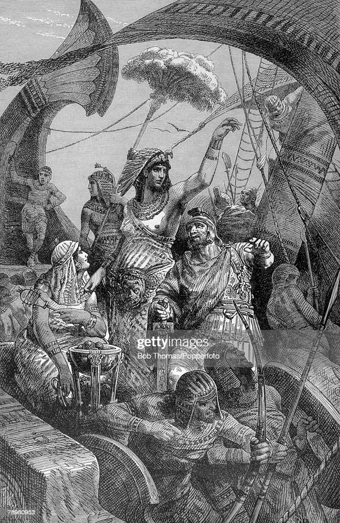 31 BC, Roman Civil War, This illustration is entitled Cleopatra, During The Battle Of Actium, The battle was fought between naval fleets of Marc Antony (supported by Cleopatra) and Octavian, The battle proved indecisive but later Marc Antony's fleet was burnt and annihilated