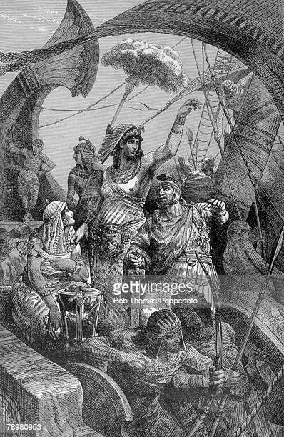 31 BC Roman Civil War This illustration is entitled Cleopatra During The Battle Of Actium The battle was fought between naval fleets of Marc Antony...