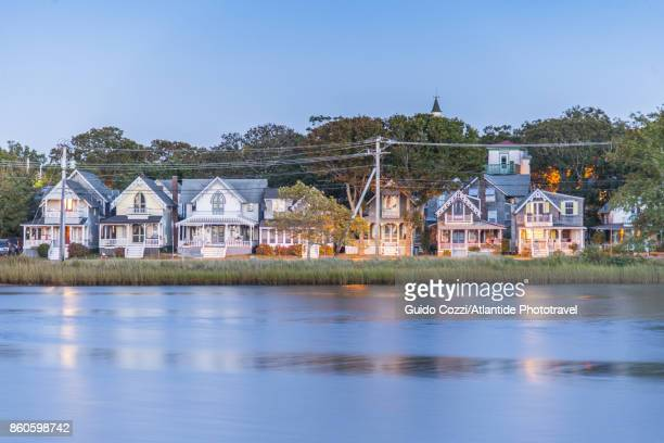 ancient houses at oak bluff - martha's_vineyard stock pictures, royalty-free photos & images