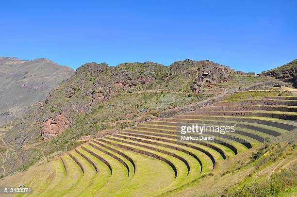 Ancient Inca ruins and terrace in Pisac, Peru