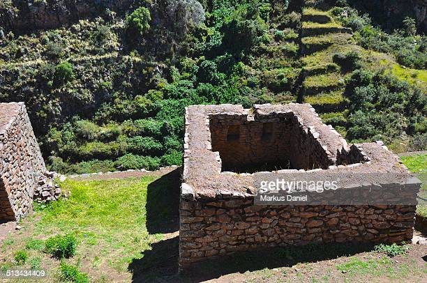 Ancient Inca ruins and terraces at Pisac, Peru
