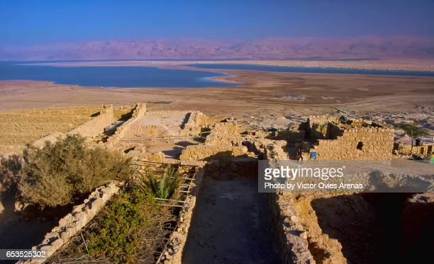 Ancient Jewish fortification of Masada in the Southern District of Israel situated on top of an isolated rock plateau in the eastern edge of the Judaean Desert overlooking the Dead Sea