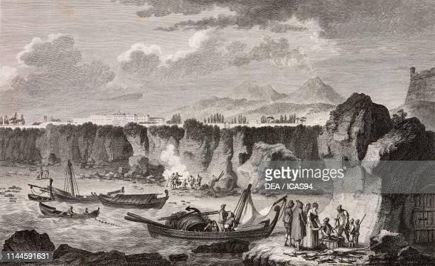 Ancient lava from Vesuvius on the coastline at Portici Naples Campania Italy engraving from Voyage pittoresque ou description des royaumes de Naples...