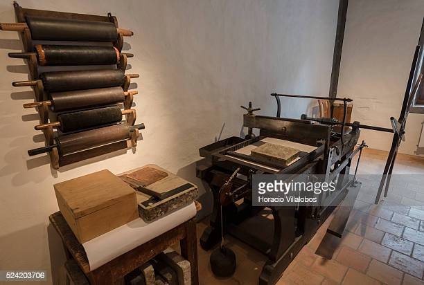 Ancient lithographic press at the Basel Paper Mill also known as the Swiss Museum for Paper Writing and Printing in Basel Switzerland 24 May 2015...