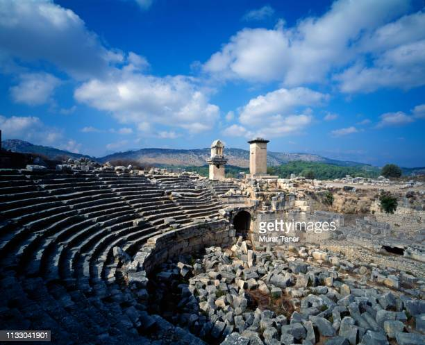 ancient lycian ruins at xanthos - unesco stockfoto's en -beelden