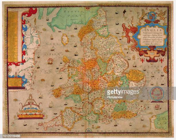 Ancient Map of England 1579, Saxton, Christopher.