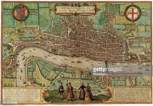 Ancient Map of London 1572 Georg Braun and Frans Hogenber