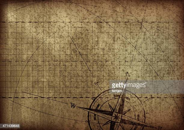 antica mappa con bussola - antico condizione foto e immagini stock