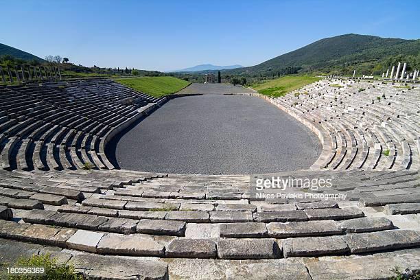 ancient messini stadium - messenia fotografías e imágenes de stock