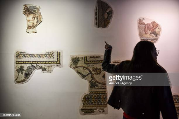 Ancient mosaic artworks are displayed at the Zeugma Mosaic Museum in Gaziantep Turkey on November 07 2018 Many years ago the missing pieces of the...