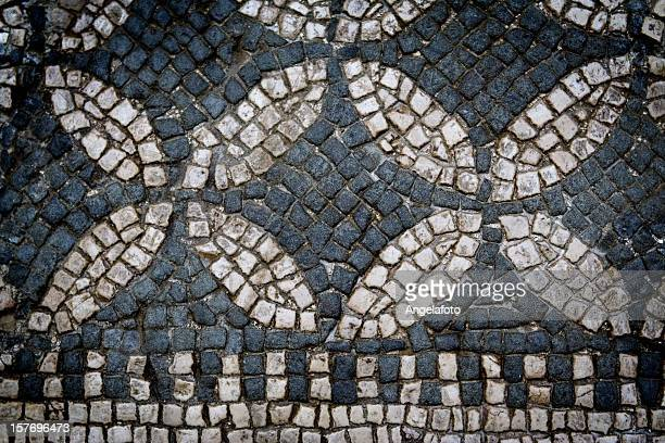 ancient mosaic black and white - mosaic stock photos and pictures