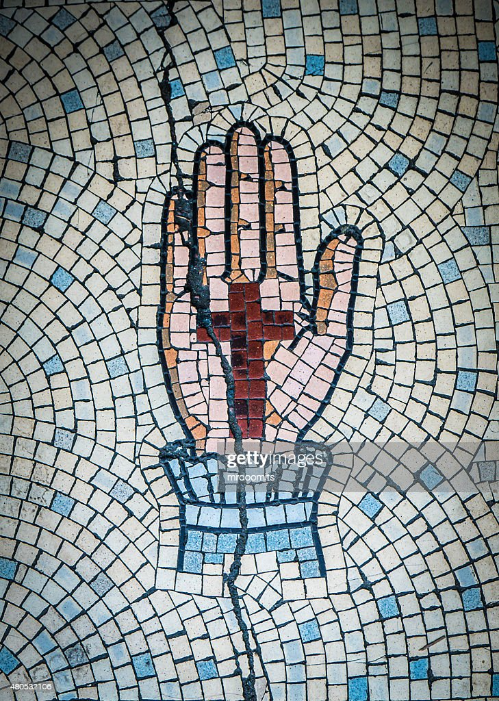 Ancient Mosaic Of Hand And Cross : Stockfoto