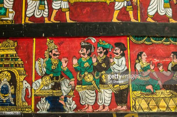 ancient murals on the walls of meenakshi temple, madurai, india. - empire stock pictures, royalty-free photos & images