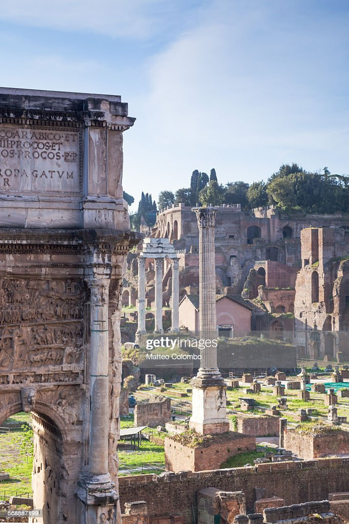 Ancient old ruins in the roman forum, Rome, Italy : Stock Photo