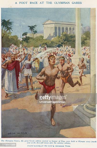 Ancient Olympic Games held in the honour of Zeus Runners competing in a foot race Early 20th century illustration