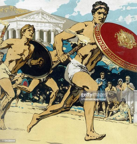 Ancient Olympic Games the relay race Runners had to keep alight the flame and hand it to their fellowsThis 1922 reconstruction shows runner...