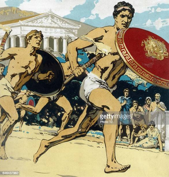 the relay race Runners had to keep alight the flame and hand it to their fellows This 1922 reconstruction shows runner protecting flame with shield...