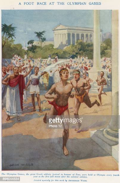 Ancient Olympic Games the relay race Runners had to keep alight the flame and hand it to their fellowsThis reconstruction shows runner in a race