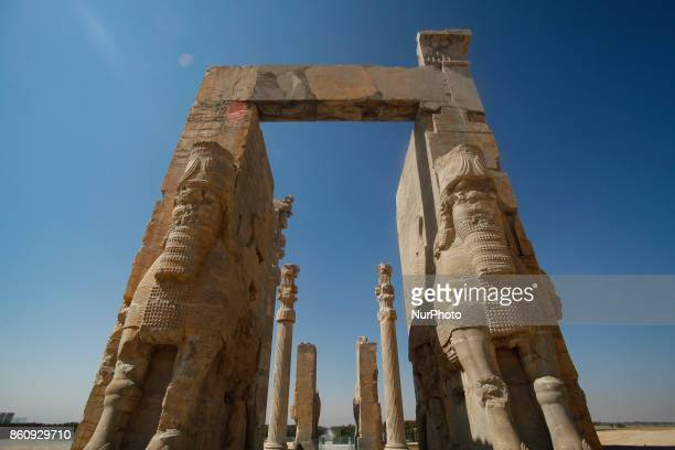 Ancient Persepolis, a capital of the Achaemenid Empire 550 - 330 BC in Iran, a UNESCO world heritage site. . Archaelogical site and ruins of gates...