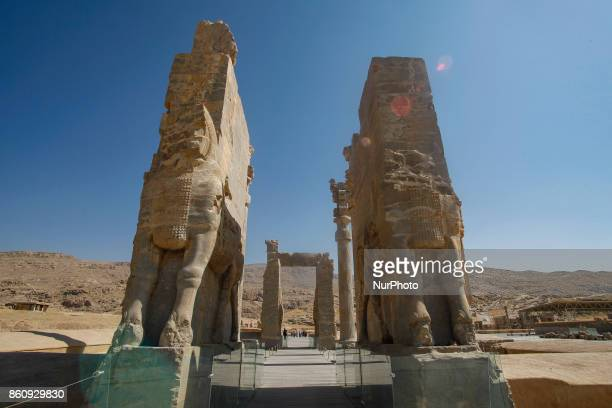 Ancient Persepolis a capital of the Achaemenid Empire 550 330 BC in Iran a UNESCO world heritage site Archaelogical site and ruins of gates and...