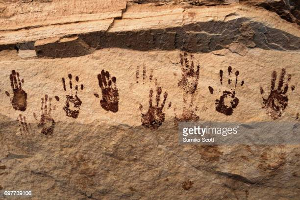 ancient pictographs of hands, natural bridges national monument, ut - cave paintings stock pictures, royalty-free photos & images
