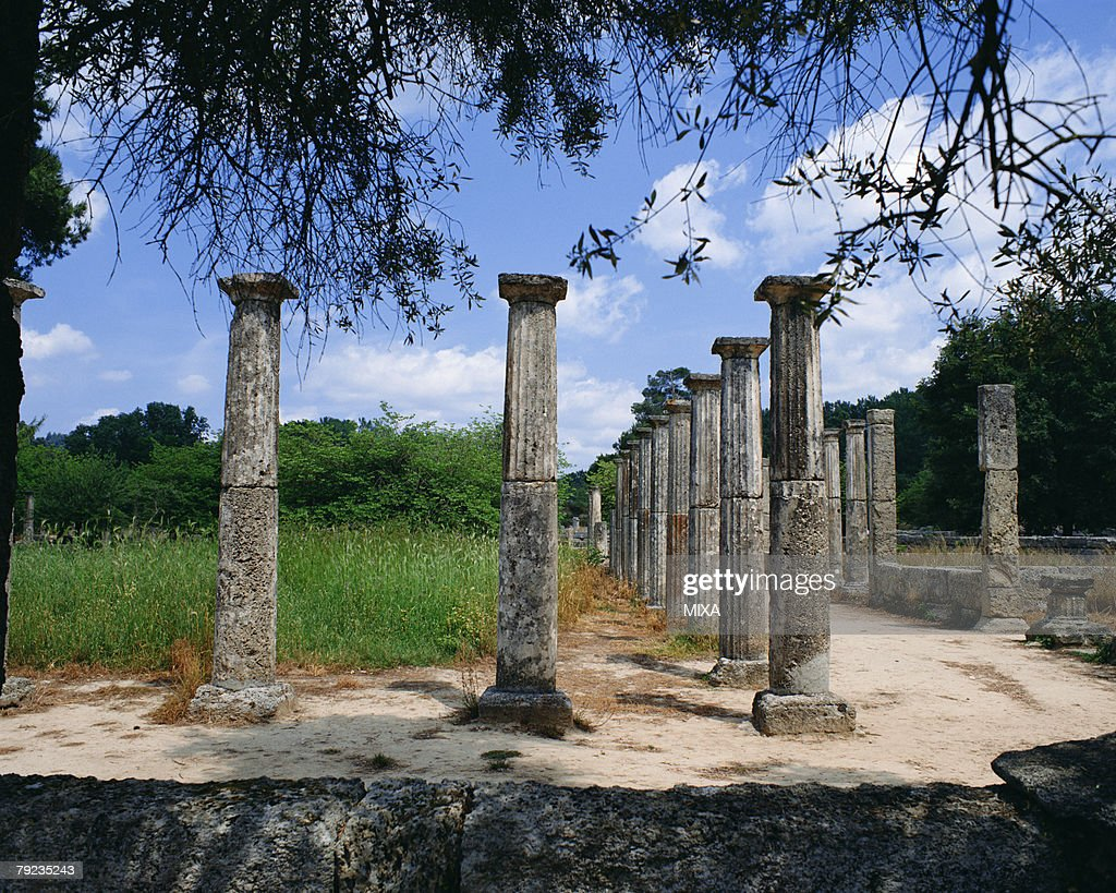Ancient pillars in Olympia, Greece : Stock Photo