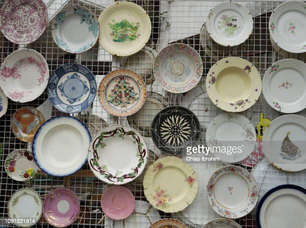 Ancient Porcelain For Sale At Market Stall