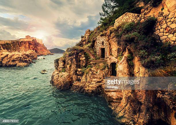 古代の港と城塞ドブロブニク,クロアチア - ドブロブニク ストックフォトと画像