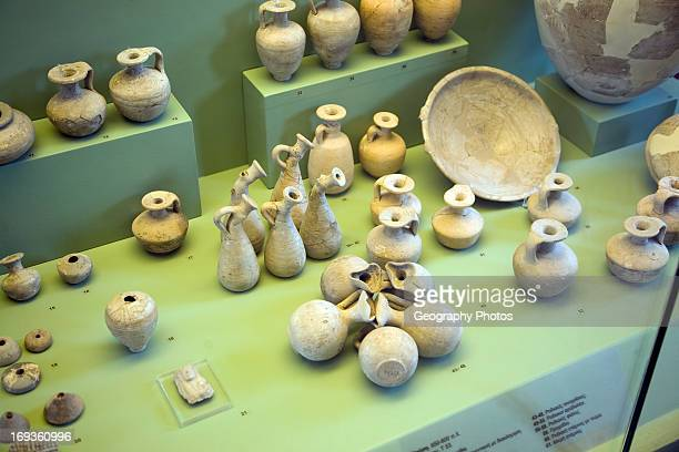 Ancient pottery for cremation burials Archaeological museum Rhodes Greece