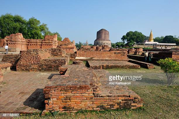 Ancient remains of the Dhamekh Stupa in Sarnath The Dhamek Stupa was built in 500 CE by king Ashoka along with several other monuments to commemorate...