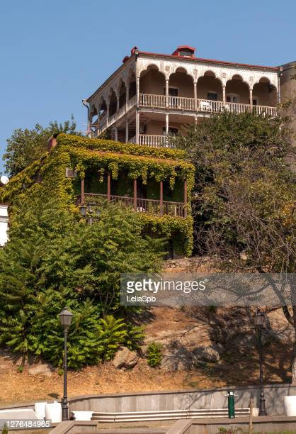 ancient residential buildings in the center of tbilisi - georgian culture stock pictures, royalty-free photos & images