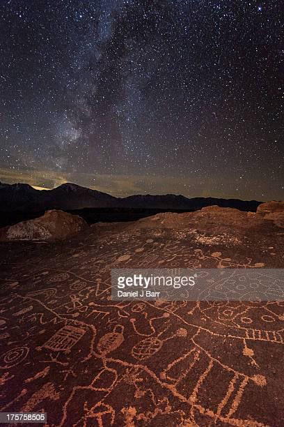 Ancient Rock Art under a Starry Sky