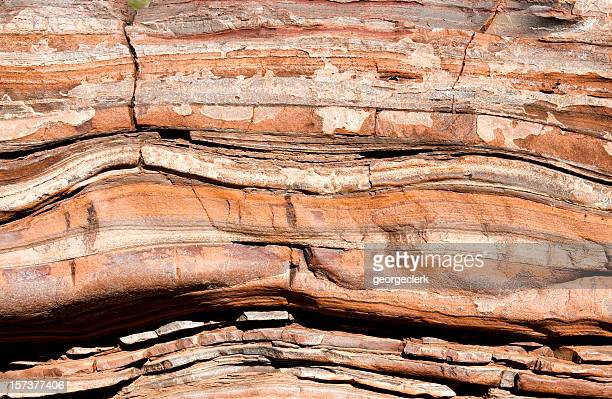 ancient rock layers - rock formation stock pictures, royalty-free photos & images