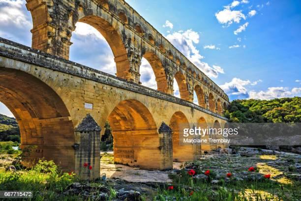 Ancient Roman masterpiece, Roman Aqueduct crossing the Gardon River, Pont du Gard, Southern France, Heritage Site, UNESCO