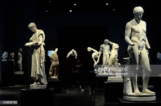 Ancient roman statues are displayed at Rome's Palazzo Massimo on April 13 2012 AFP PHOTO / Filippo MONTEFORTE