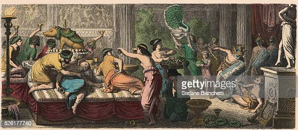 A banquet with a performance by gladiators Coloured engraving by Heinrich Leutemann Bilder aus dem Altertume 1866
